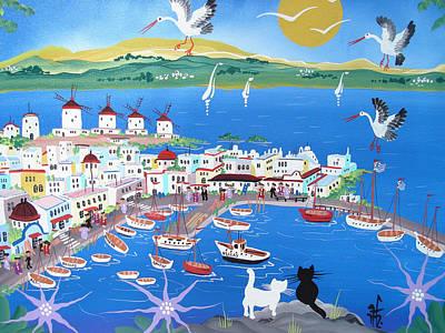 Mykonos, Greece, 2012 Acrylic On Canvas Poster by Herbert Hofer