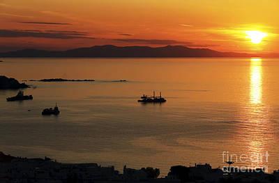 Mykonos Sunset Poster by John Rizzuto