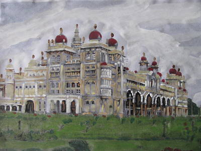 Poster featuring the painting Mysore Palace by Vikram Singh