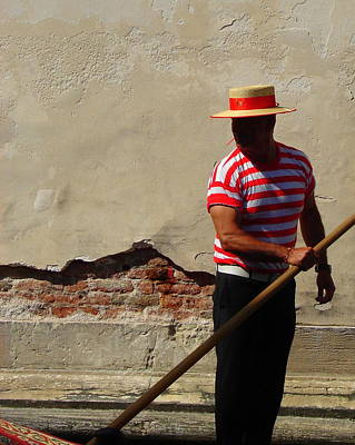 Poster featuring the photograph Mystery Gondolier by Ramona Johnston