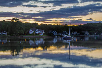 Mystic River Sunset Reflection Poster