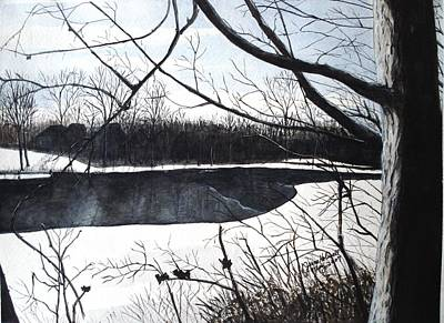 Mystic River - Winter Remnants Poster by June Holwell