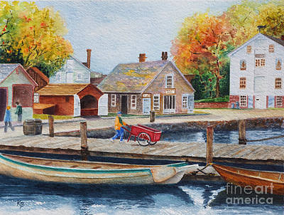 Poster featuring the painting Mystic Seaport by Karen Fleschler