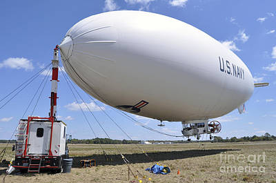 Mz-3a, A U.s. Navy Blimp, Moored Poster