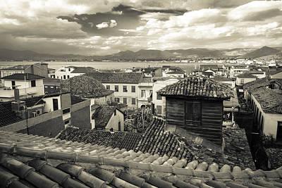 Nafplio Rooftops Sepia Poster by David Waldo