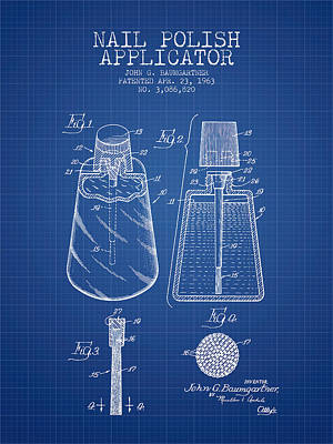 Nail Polish Applicator Patent From 1963 - Blueprint Poster by Aged Pixel