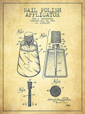 Nail Polish Applicator Patent From 1963 - Vintage Poster by Aged Pixel