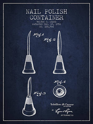 Nail Polish Container Patent From 1952 -navy Blue Poster by Aged Pixel