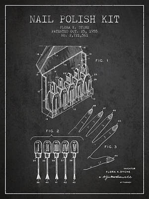 Nail Polish Kit Patent From 1955 - Charcoal Poster by Aged Pixel