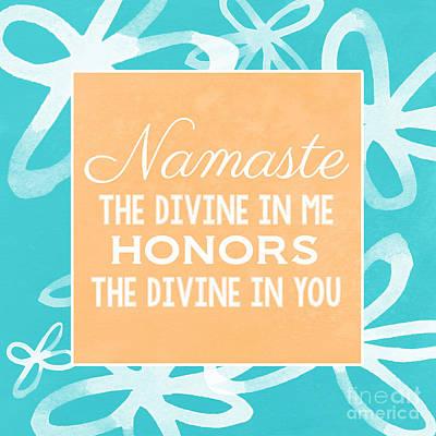 Namaste Watercolor Flowers- Blue Poster by Linda Woods