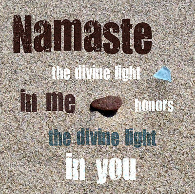 Namaste With Beach Glass And Pebble Poster by Michelle Calkins
