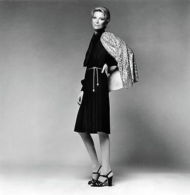 Nan Kempner Wearing An Evening Dress Poster by Francesco Scavullo