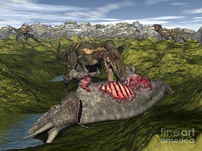 Nanotyrannus Eating The Carcass Poster by Elena Duvernay