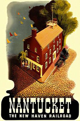 Nantucket Vintage Vacation Poster Poster