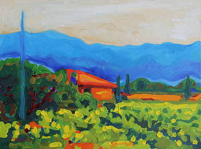 Napa Art Napa Vineyard With House And Hills Oil Painting Bertram Poole Poster