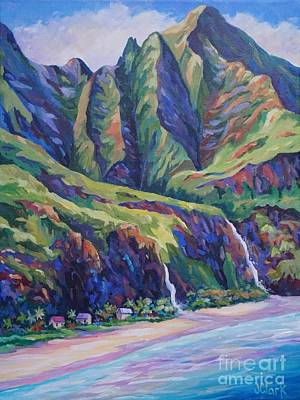 Napali Coast Evening Colours Poster by John Clark