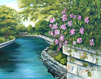 Poster featuring the painting Naperville Riverwalk by Debbie Hart