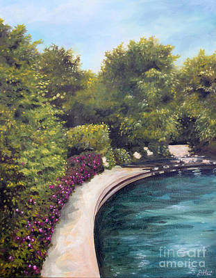 Poster featuring the painting Naperville Riverwalk II by Debbie Hart