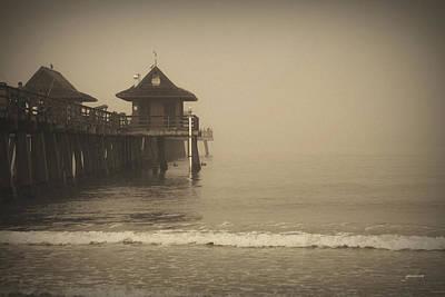 Naples Pier In The Fog Poster