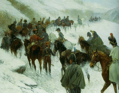 Napoleon Leading His Troops Through Guadarrama Mountains Poster by Jan Von Chelminski