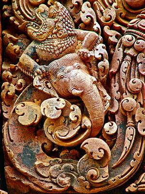 Narasimba Elephant Incarnation Of Vishnu At Bantheay Srei In Angkor Wat Archeologial Park-cambodia Poster