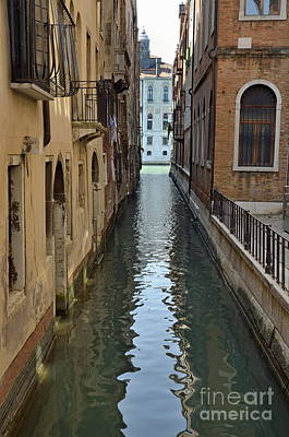 Narrow Canal In Venice Poster by Sami Sarkis