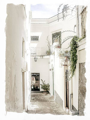 Narrow Walkway Of Capri Poster by Julie Palencia