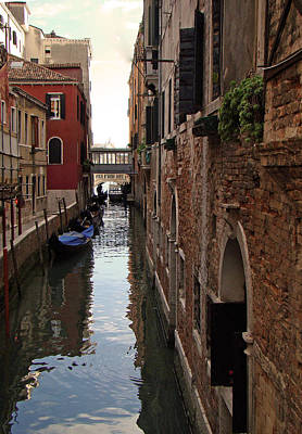 Venice Narrow Waterway Poster by Walter Fahmy