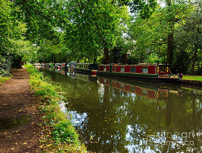 Narrowboats Moored On The Wey Navigation In Surrey Poster