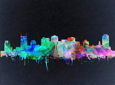 Nashville Skyline Watercolor 10 Poster