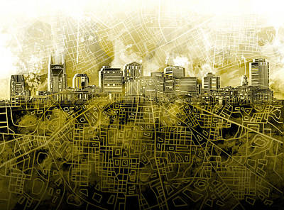 Nashville Skyline Watercolor 4 Poster