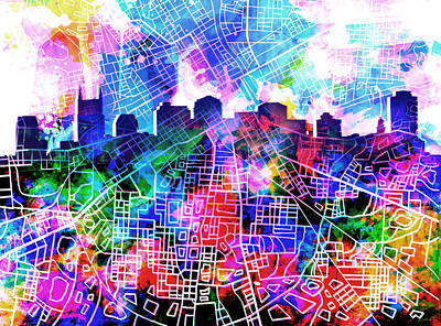 Nashville Skyline Watercolor 5 Poster