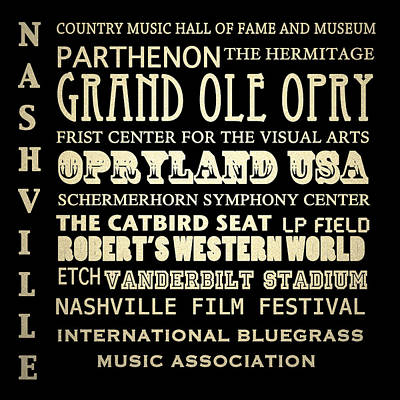 Nashville Tennessee Famous Landmarks Poster by Patricia Lintner