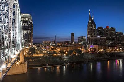Nashville Tennessee With Pedestrian Bridge  Poster by John McGraw