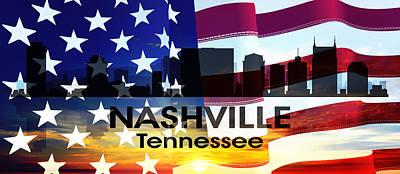Nashville Tn Patriotic Large Cityscape Poster by Angelina Vick