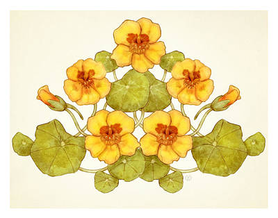 Nasturtium Nouveau Poster by Catherine Noel