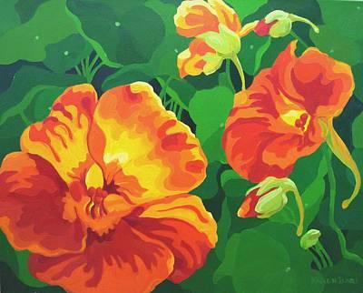 Poster featuring the painting Nasturtiums by Karen Ilari