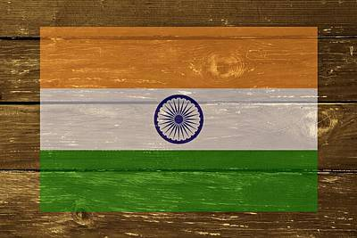 India National Flag On Wood Poster by Movie Poster Prints