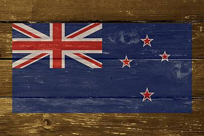 New Zealand National Flag On Wood Poster by Movie Poster Prints