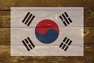 South Korea National Flag On Wood Poster
