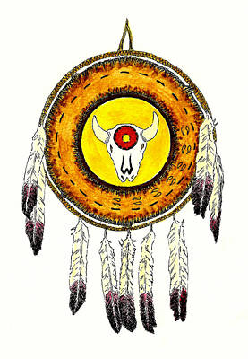 Native American Ceremonial Shield Number 2 Poster by Michael Vigliotti
