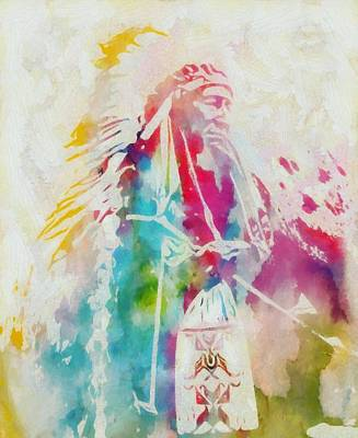 Native American Chief Watercolor Poster