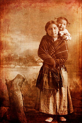 Native American Children Amy Tough Feather And Sister Poster by Cat Whipple