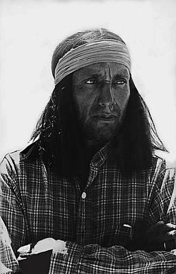 Native American Extra Dressed As Fierce Apache Warrior The High Chaparral Set Old Tucson Arizona 196 Poster by David Lee Guss