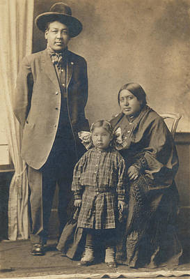 Poster featuring the photograph Native American Family by Paul Ashby Antique Image