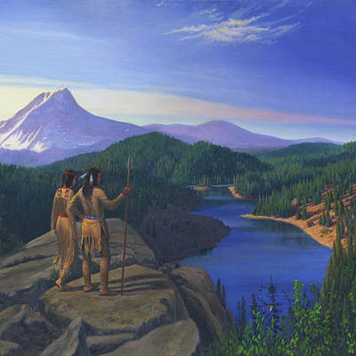 Native American Indian Maiden And Warrior Watching Bear Western Mountain Landscape - Square Format Poster by Walt Curlee