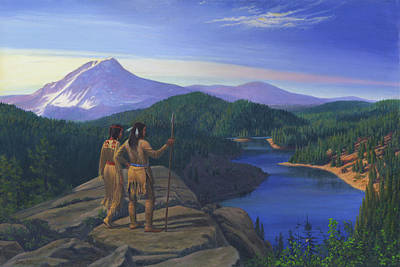Native American Indian Maiden And Warrior Watching Bear Western Mountain Landscape Poster by Walt Curlee