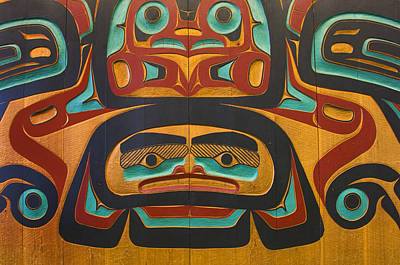Native Tlingit Carving At The Juneau Poster by Ron Sanford