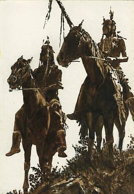 Two Indians Horseback Poster by Don  Langeneckert