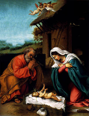 Poster featuring the digital art Nativity by Lorenzo Lotto